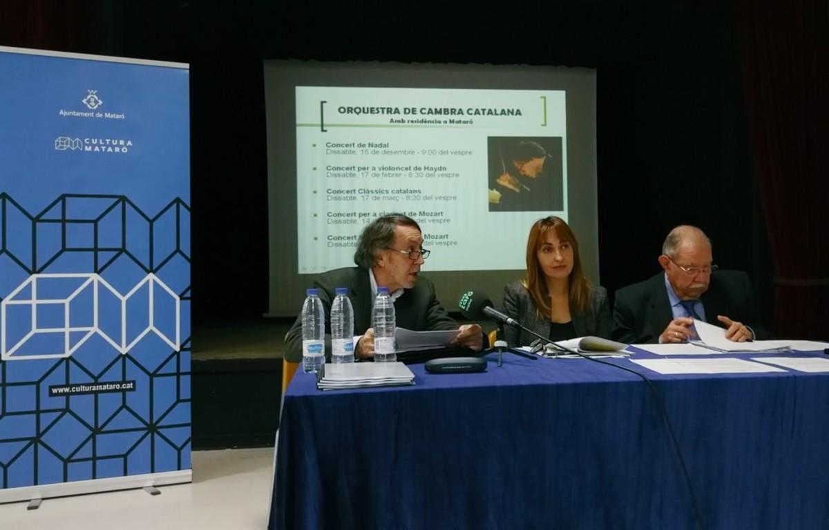 Joan Pàmies, director de lOrquestra de Cambra Catalana, presentant els cinc concertsque la banda resident alFoment Mataroní durà a termedurantla temporada 2018.
