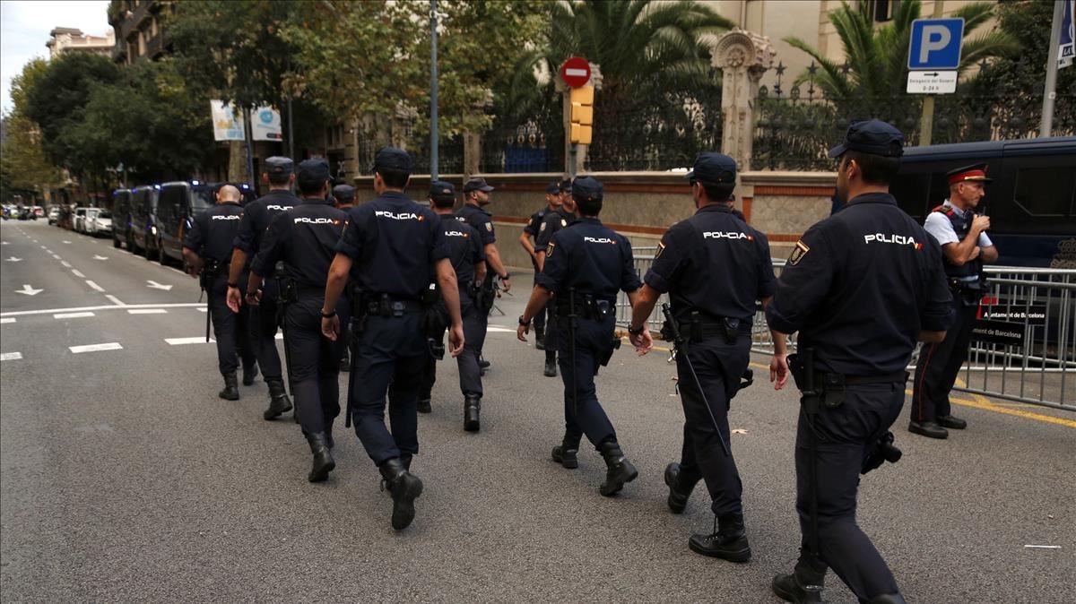 Policías nacionales, el pasado septiembre.