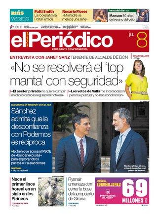 La portada de EL PERIÓDICO del 8 de agosto del 2019