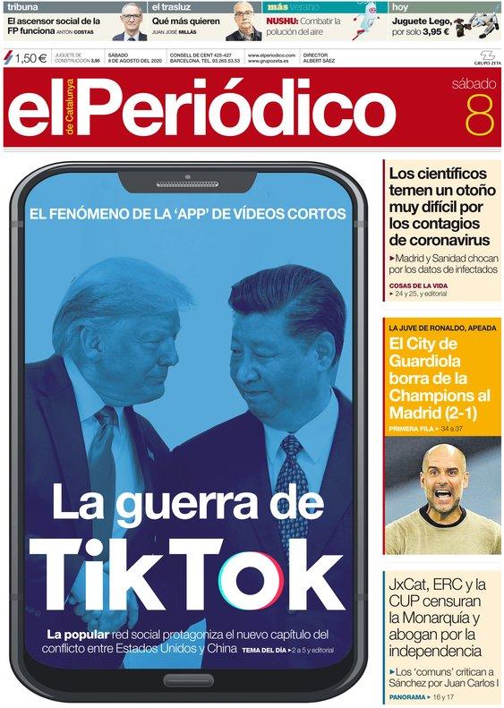 La portada de EL PERIÓDICO del 8 de agosto del 2020.