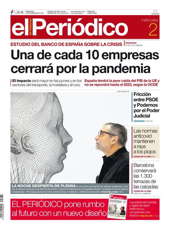 La portada de EL PERIÓDICO del 2 de diciembre del 2020.