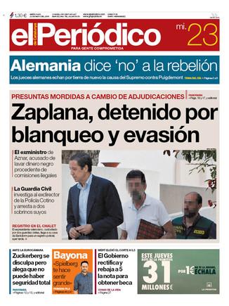 La portada de EL PERIÓDICO del 23 de mayo.