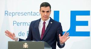 El presidente del Gobierno, Pedro Sánchez, durante la rueda de prensa posterior al Consejo Europeo, este 16 de octubre en Bruselas.