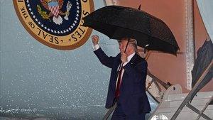 El presidente Trump a su llegado el viernes a Palm Beachm Florida.