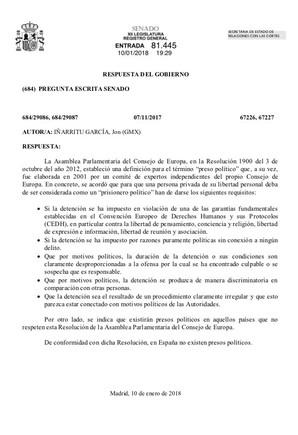 ¿Qué es un preso político para Rajoy?