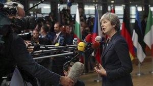 La primera ministra británica, Theresa May, hoy en Bruselas.