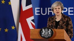 La primera ministra británica, Theresa May, durante la conferencia de prensa que ha celebrado en la sede del Consejo Europeo.