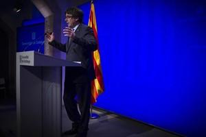 Puigdemont, en su comparecencia de ayer.
