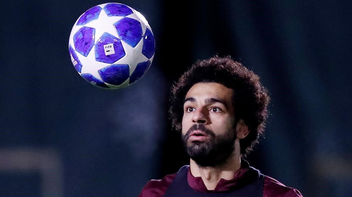 Salah, la estrella del Liverpool,en el entrenamiento de este lunes.