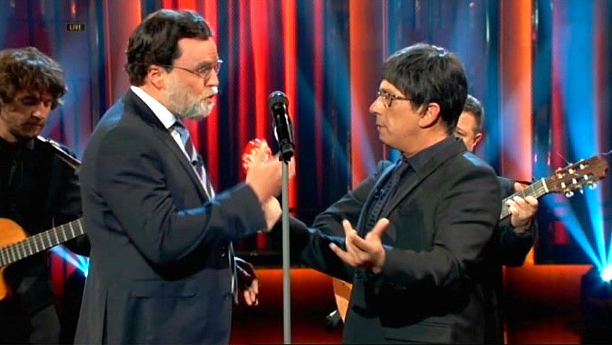 Buenafuente/Puigdemont y Pérez/Rajoy, en el programa Late motiv (Movistar+).