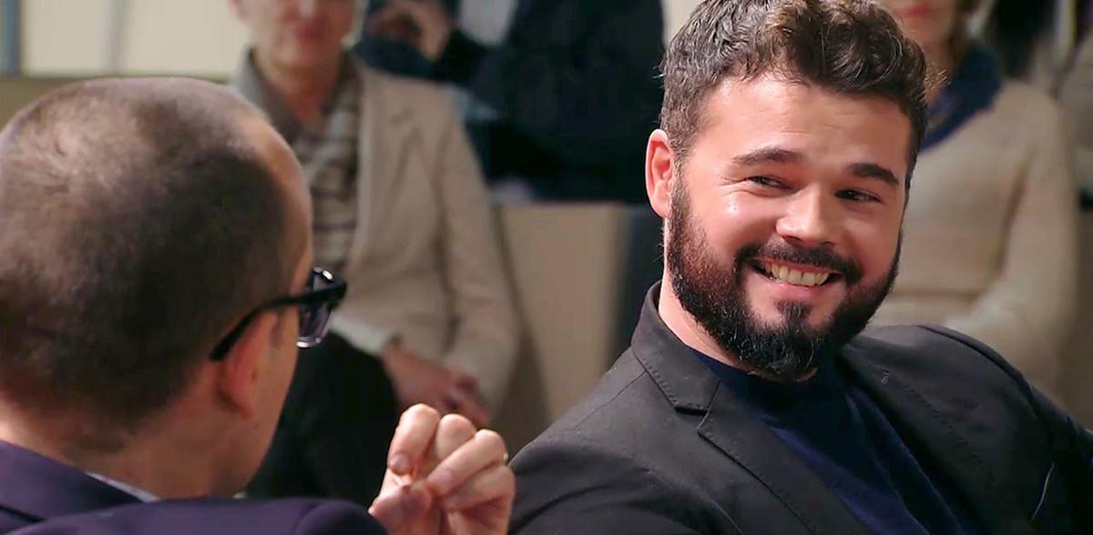Gabriel Rufián, en un momento de su entrevista con Risto Mejide, en el programa 'Chester in love', de Cuatro.
