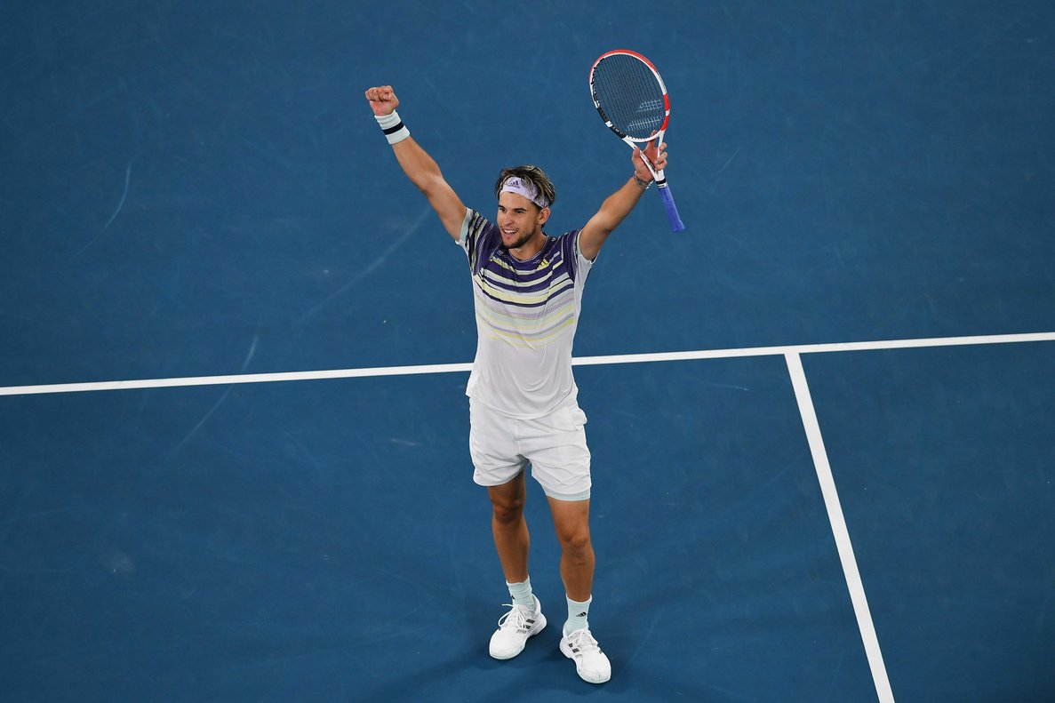 Thiem celebra la clasificación para la final de Australia.