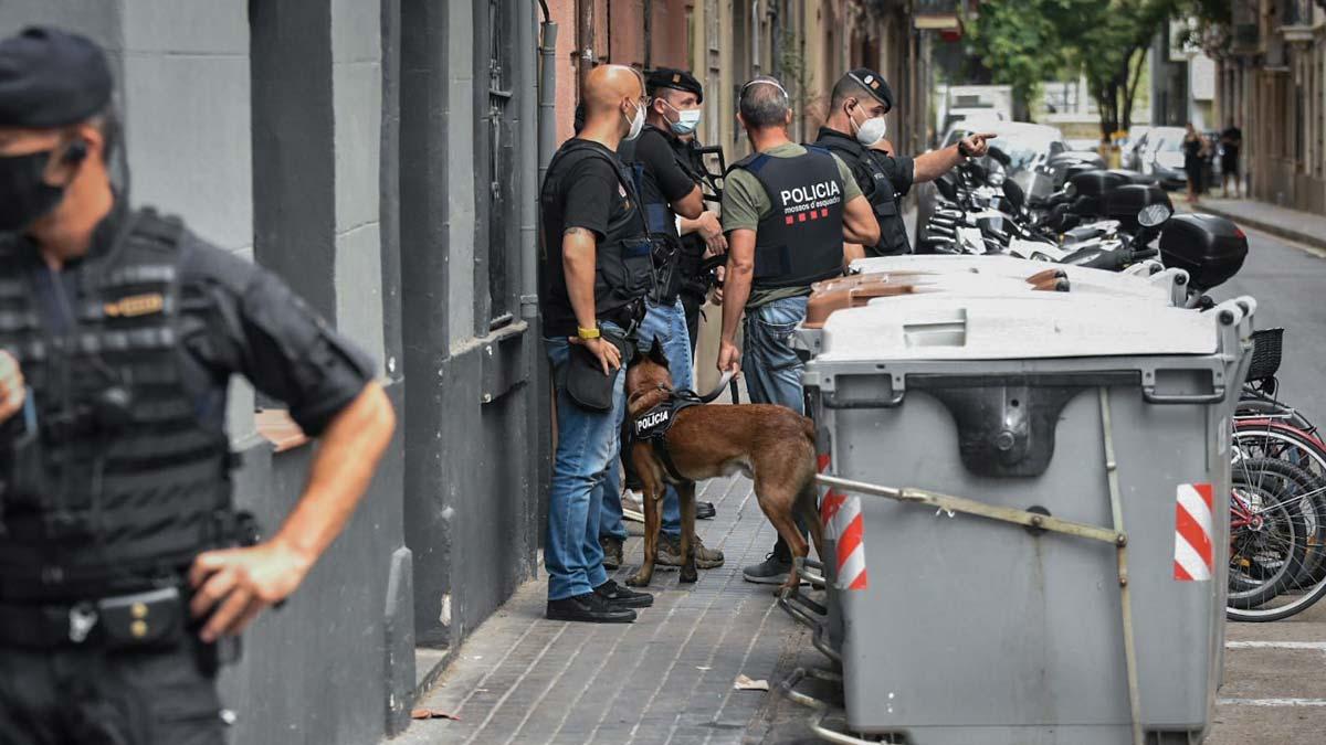 La unidad canina de los Mossos llega al domicilio del presunto yihadista en la Barceloneta.