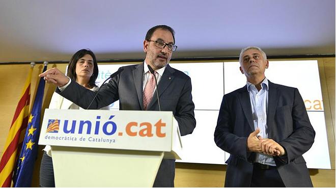 El secretario general de Unió, Ramon Espadaler, interviene en la rueda de prensa tras la cumbre del partido, este miércoles, 17 de junio.