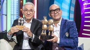 Xavier Sardà y José Corbacho, en el plató de 'Juego de niños' (TVE-1) con los 'gallifantes' y los 'gallifantazos'.