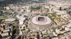 Recreación de cómo quedará el entorno del Camp Nou tras la reforma.