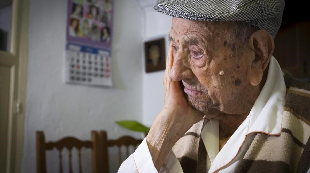 Francisco Núñez Olivera, cuando cumplió 113 años, el pasado diciembre.