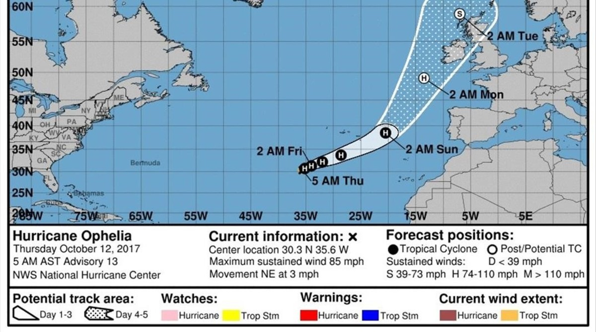 Trayectoria prevista para el huracán Ofelia por el Centro Nacional de Huracanes de Estados Unidos.