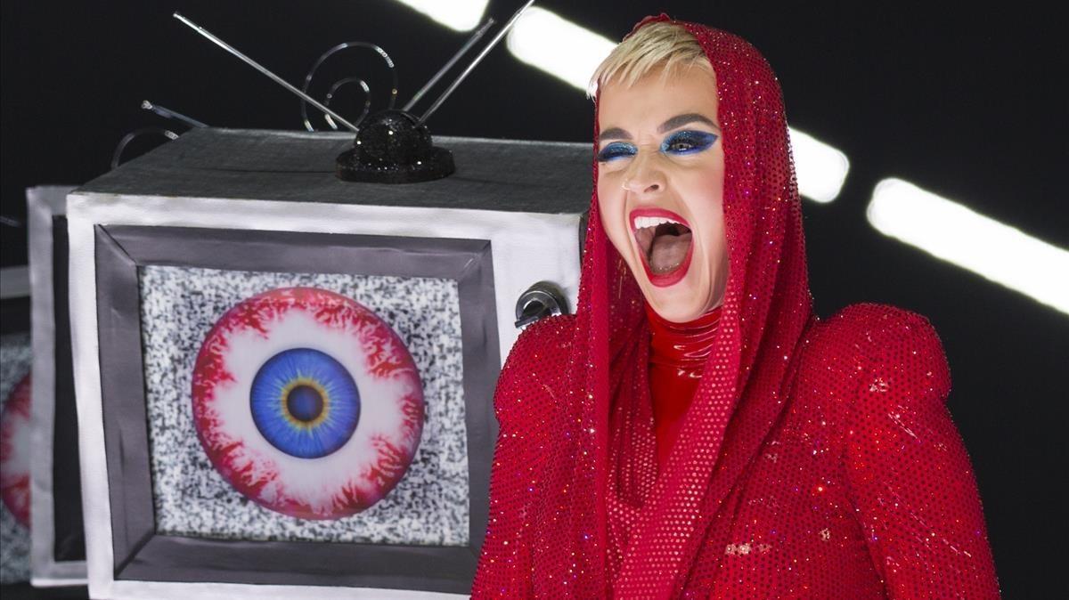 Katy Perry durante su actuación en el Staples Center de Los Ángeles con Witness The Tour, el pasado noviembre.