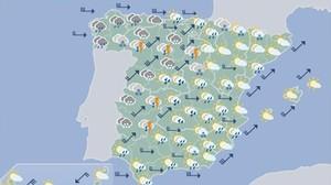 Mapa de la previsión del tiempo para este viernes, según la Aemet.