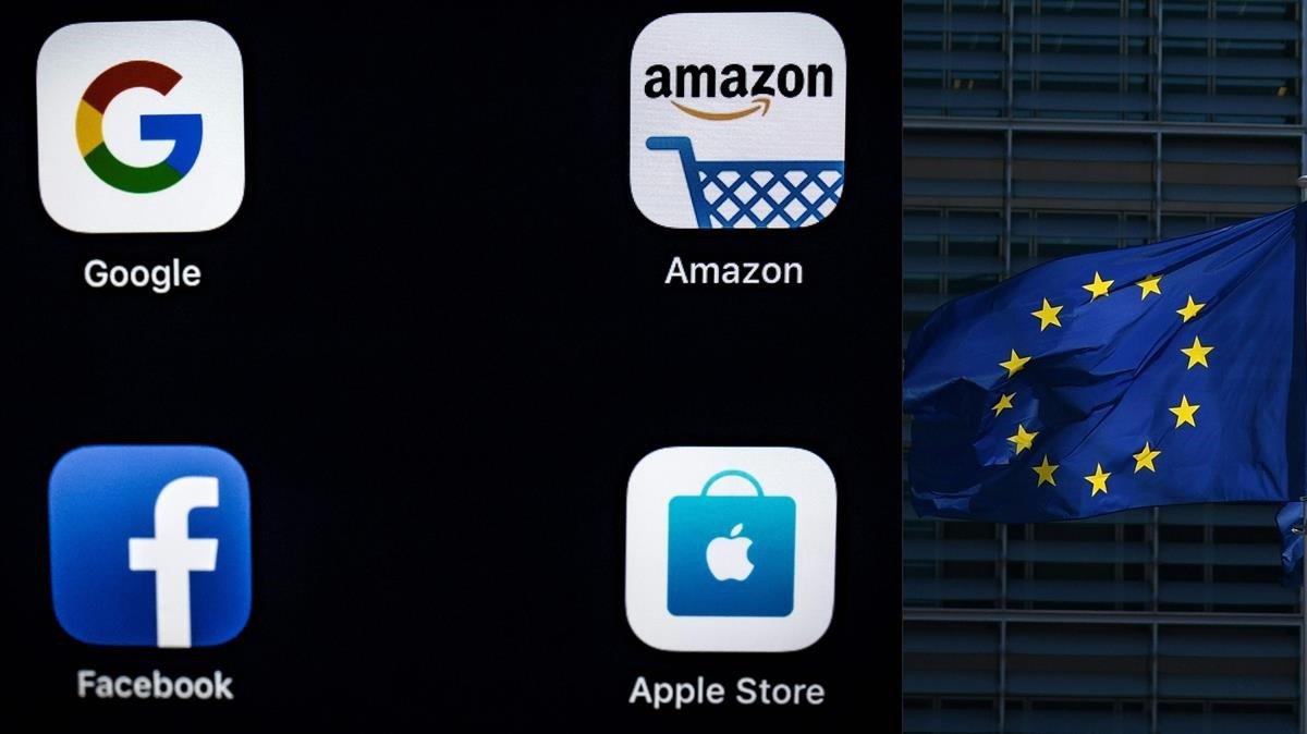 Logos de las compañías conocidas bajo el acrónimo de GAFAs (Google, Amazon, Facebook y Apple), y la bandera de la CE.