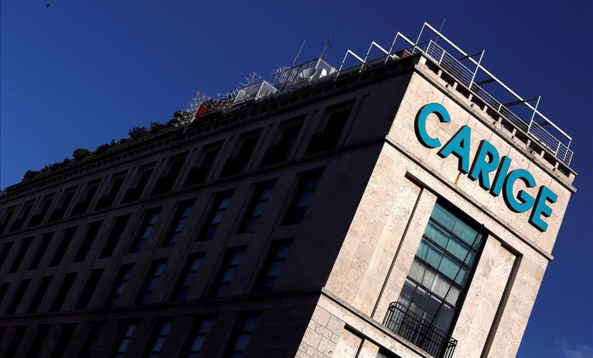Logo de Carige en un edificio de Roma.