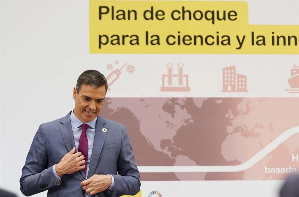 El presidentedel Gobierno Pedro Sanchezdurante la presentacióndel Plan para reforzar el sistema de Ciencia Tecnologíae Innovación esta mañana en el Palacio de la Moncloa.