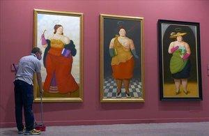 inauguración este mediodía en Madrid de la exposición 60 años de pintura de Botero .