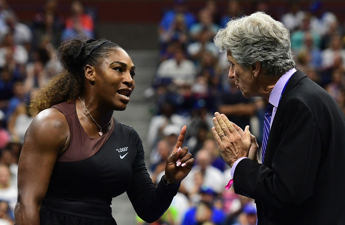 NEW YORK, NY - SEPTEMBER 08: Serena Williams of the United States argues with referee Brian Earley during her Women's Singles finals match against Naomi Osaka of Japan on Day Thirteen of the 2018 US Open at the USTA Billie Jean King National Tennis Center on September 8, 2018 in the Flushing neighborhood of the Queens borough of New York City. Sarah Stier/Getty Images/AFP