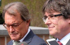 Los expresidentes de la Generalitat Artur Mas y Carles Puigdemont