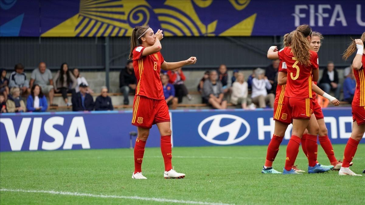 La barcelonista Patricia Guijarro celebraun gol en el Mundial sub-20
