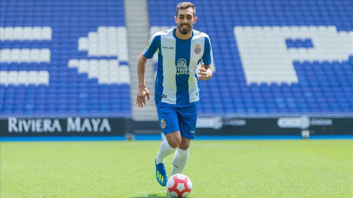 Borja Iglesias, en la presentación con el Espanyol.