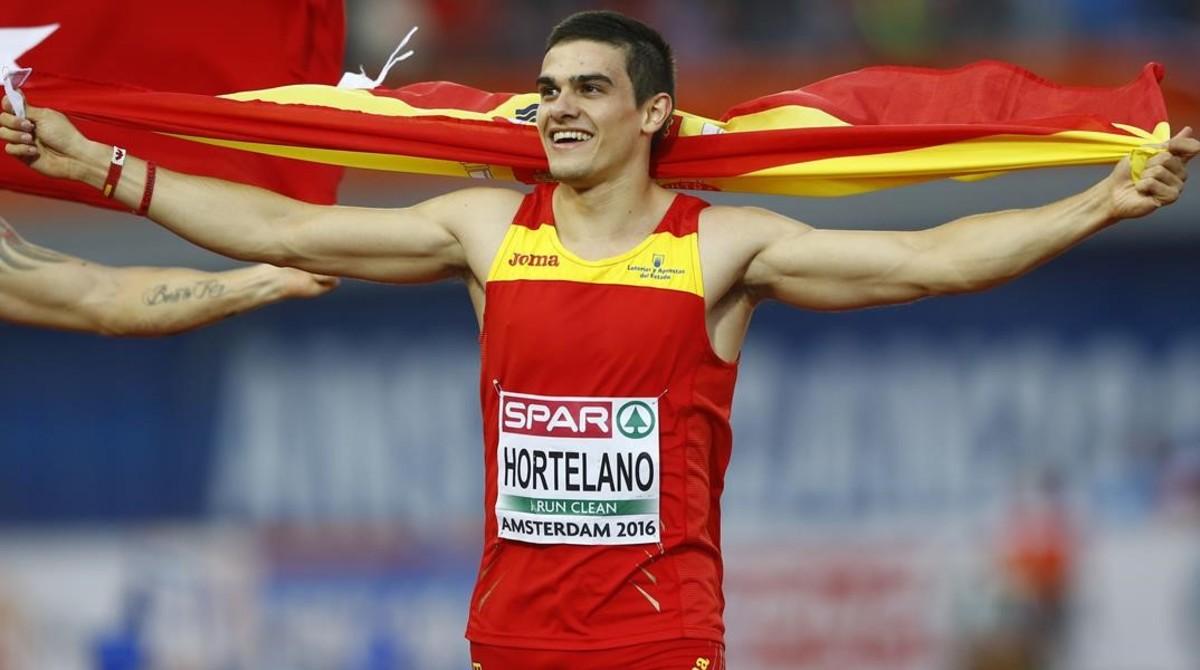 Bruno Hortelano, tras conquistar la medalla de oro en los Europeos de Amsterdam.