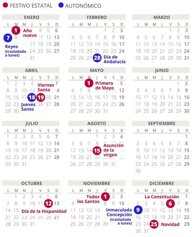 Calendario laboral de Andalucía del 2019 .