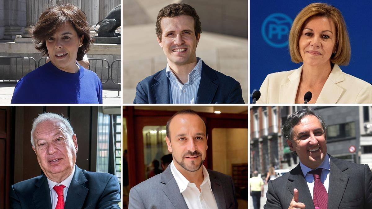 Candidatos a la presidencia del PP,de izquierda a derecha y de arriba a abajo: Santamaría, Casado, Cospedal, García-Margallo, Cabanes y García-Hernández.