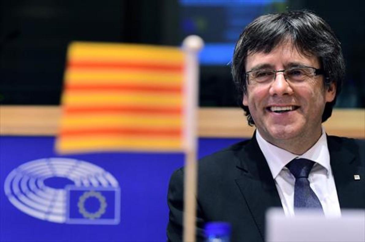 Carles Puigdemont, en un acto en el Parlamento Europeo en Bruselas, en enero.