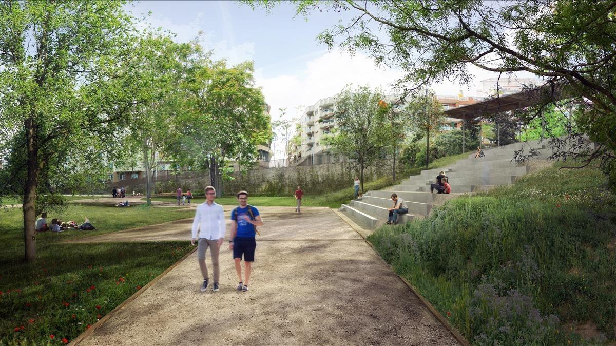 Imagen virtual del futuro aspecto del jardín Ravetllat-Pla.