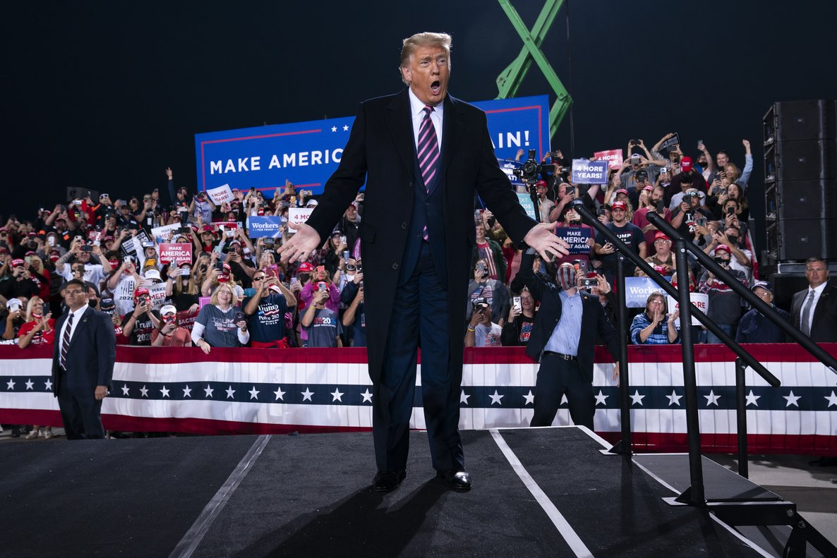 President Donald Trump arrives to speak to a campaign rally at Pittsburgh International Airport, Tuesday, Sept. 22, 2020, in Pittsburgh. (AP Photo/Evan Vucci)