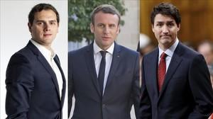 Albert Rivera, Emmanuel Macron y Justin Trudeau.