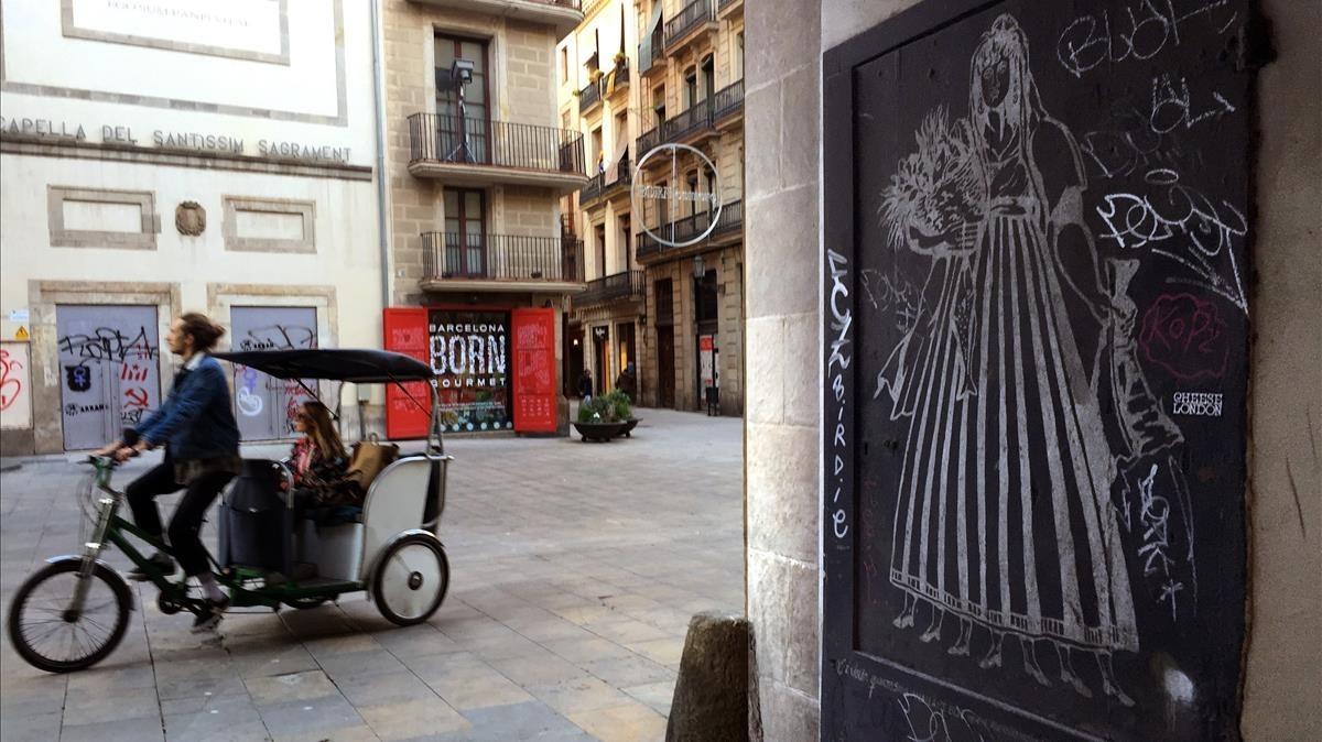 La Vella Quaresma realizada en pan de plata por Aurelio Cachafeiroen una puerta del inicio de lade la Volta d'en Bufanalla.