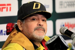 FILE PHOTO Dorados coach Diego Maradona at Benito Juarez Stadium Ciudad Juarez Mexico -November 24 2018 REUTERS Jose Luis Gonzalez File Photo