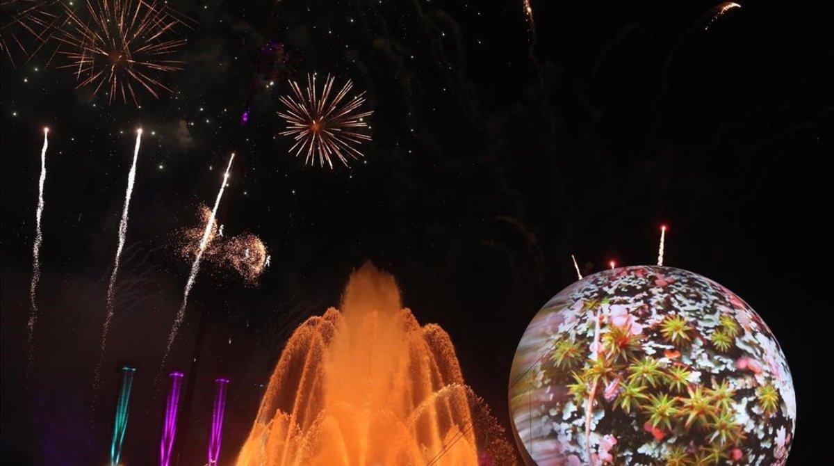 Imagen del pasado Fin de Año en Maria Cristina, junto a la Font Màgicade Montjuïc.