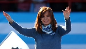 Former Argentine President Cristina Fernandez de Kirchner waves during a rally in Buenos Aires Argentina June 20 2017 Picture taken June 20 2017 REUTERS Marcos Brindicci