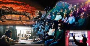 Una imagen que combina el aspecto de la sala con la película.