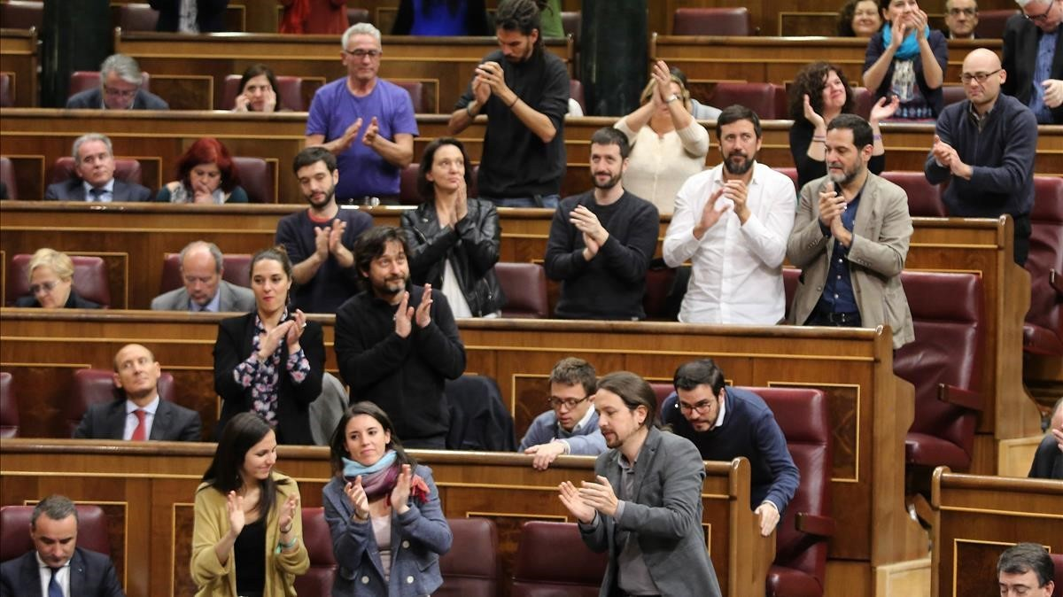 El grupo de Podemos, en el Congreso.