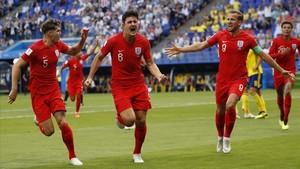 Harry Maguire celebrando su gol en los cuartos de final del Mundial