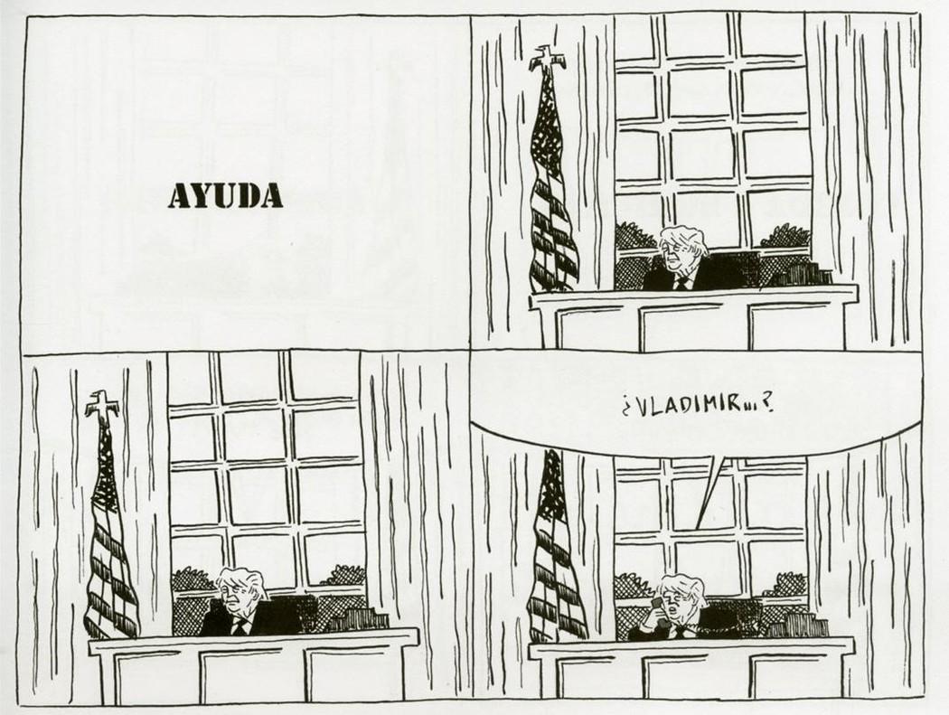 Historieta de Pablo Ríos en 'Presidente Trump. Dios perdone a América'.