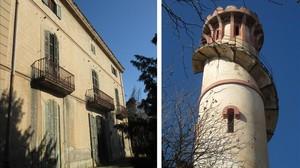 Lafinca Can Jorba y la torre del agua de Puig i Cadafalch en Santpedor (Bages).