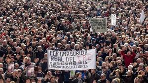 Imagen de una manifestación de pensionistas en Bilbao, en febrero del 2018.