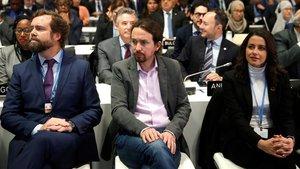 Iván Espinosa de los Monteros (izquierda), Pablo Iglesias e Inés Arrimadas, durante la ceremonia de apertura de la 25ª Conferencia de las Partes del Convenio Marco de Naciones Unidas sobre Cambio Climatico, este lunes.